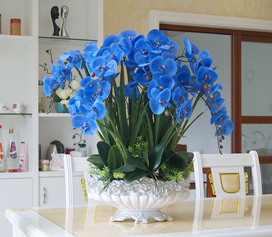 high quality big size blue orchids arrangement artificial real touch orchid  flower arrangement  bonsai flower only no vasehigh quality big size blue orchids arrangement artificial real touch orchid  flower arrangement  bonsai flower only no vase