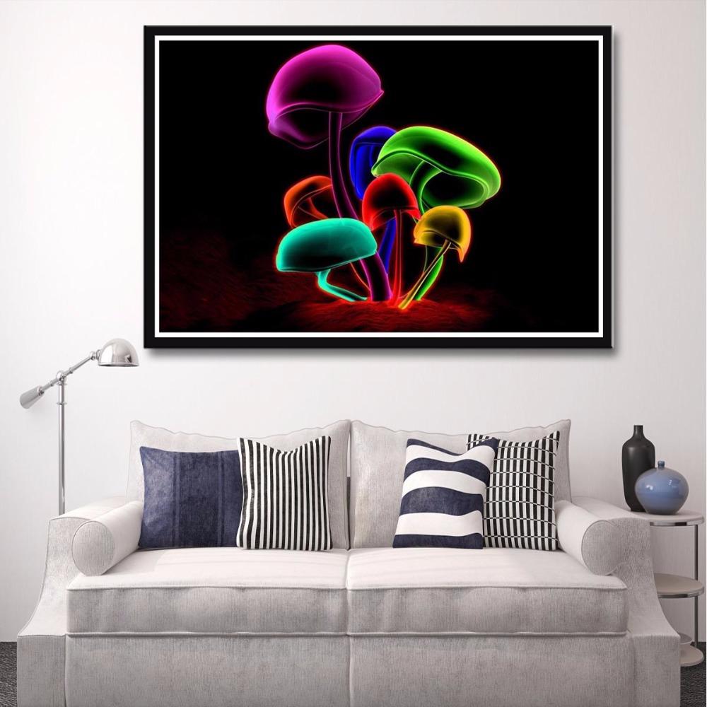 J0996 champignon magique coloré fleurs hot top art print affiche soie lumière toile peinture mur photo room décor à la maison
