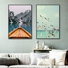 Nordic Posters and Prints Simple Lake Sea Landscape Canvas Painting Seagull Wall Pictures for Living Room Home Decoration