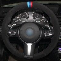 Black Suede Light Blue Blue Red Marker Steering Wheel Cover for BMW F87 M2 F80 M3 F82 M4 M5 F12 F13 M6 F85 X5 M F86 X6 M F33 F30