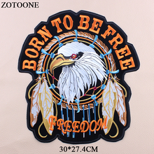 ZOTOONE Embroidered Punk Rock Patches Military Clothing Stickers Badges Iron On Large Eagle Letter For Clothes Jeans