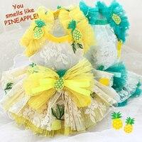 Gratis verzending schattig grote ananas wateroplosbare kant Chiffon Rok dog jurk pet kleding