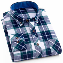New Men's Long Sleeve Shirt Brushed Flannel Single Patch Pocket Colorful Bold Plaid Checked Pattern 100% Cotton Dress Shirts