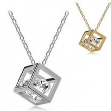 New Fashion Love Cube Three-dimensional Necklace Flash Crystal Cz Pendant Silver-plated Wedding Jewelry Wholesale