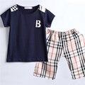 Mamimore Новые Летние Мальчики Мода Набор Детской Одежды Костюм футболка + Короткие Штаны Устанавливает Плед Хлопок Брюки infantis Горячие