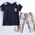 Mamimore New Summer Baby Boys Set Fashion Children Clothing Suit T-shirt+Short Pants Sets Plaid Cotton Trousers infantis Hot