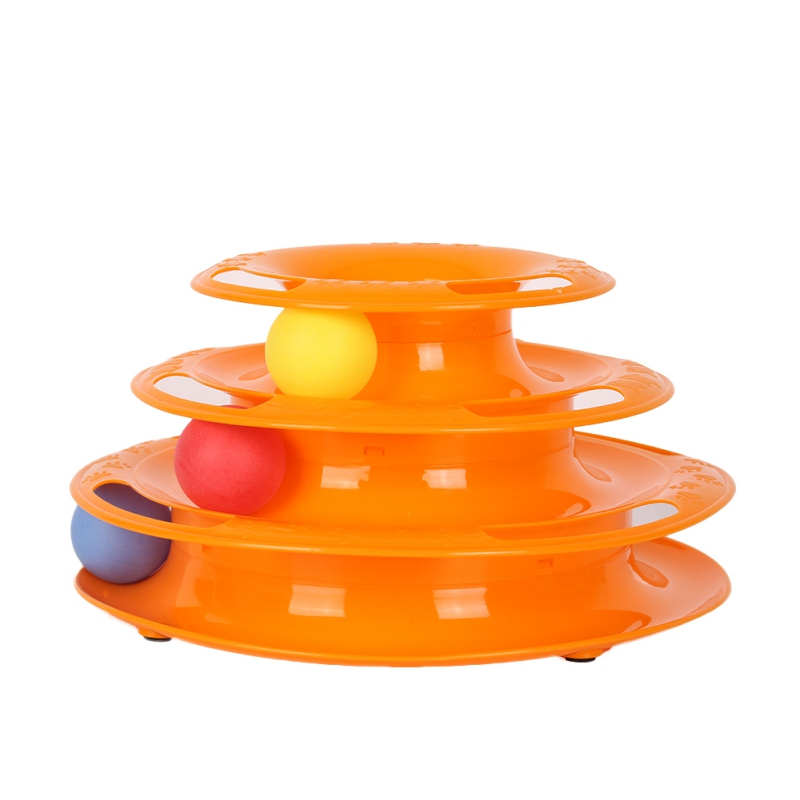 Pet Funny Toys Cat Crazy Ball Disk Interactive Amusement Plate Play Disc Trilaminar Turntable Cat Toy