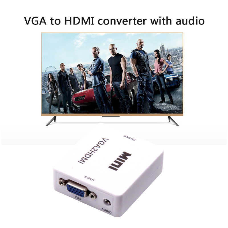 PZ 1PCS Mini 1080P VGA to HDMI adapter Converter VGA2HDMI Converter Connector with Audio NEW WHITE M/F for Multimedia