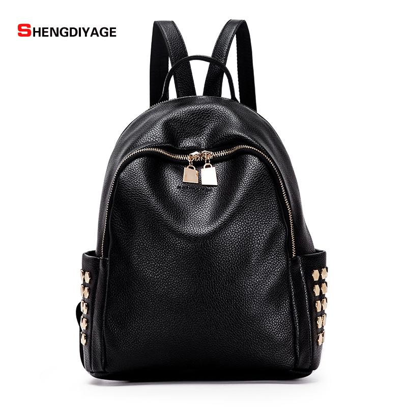 SHENGDIYAGE 2017 pu backpack women backpack leather school bag women casual style simple color black preppy
