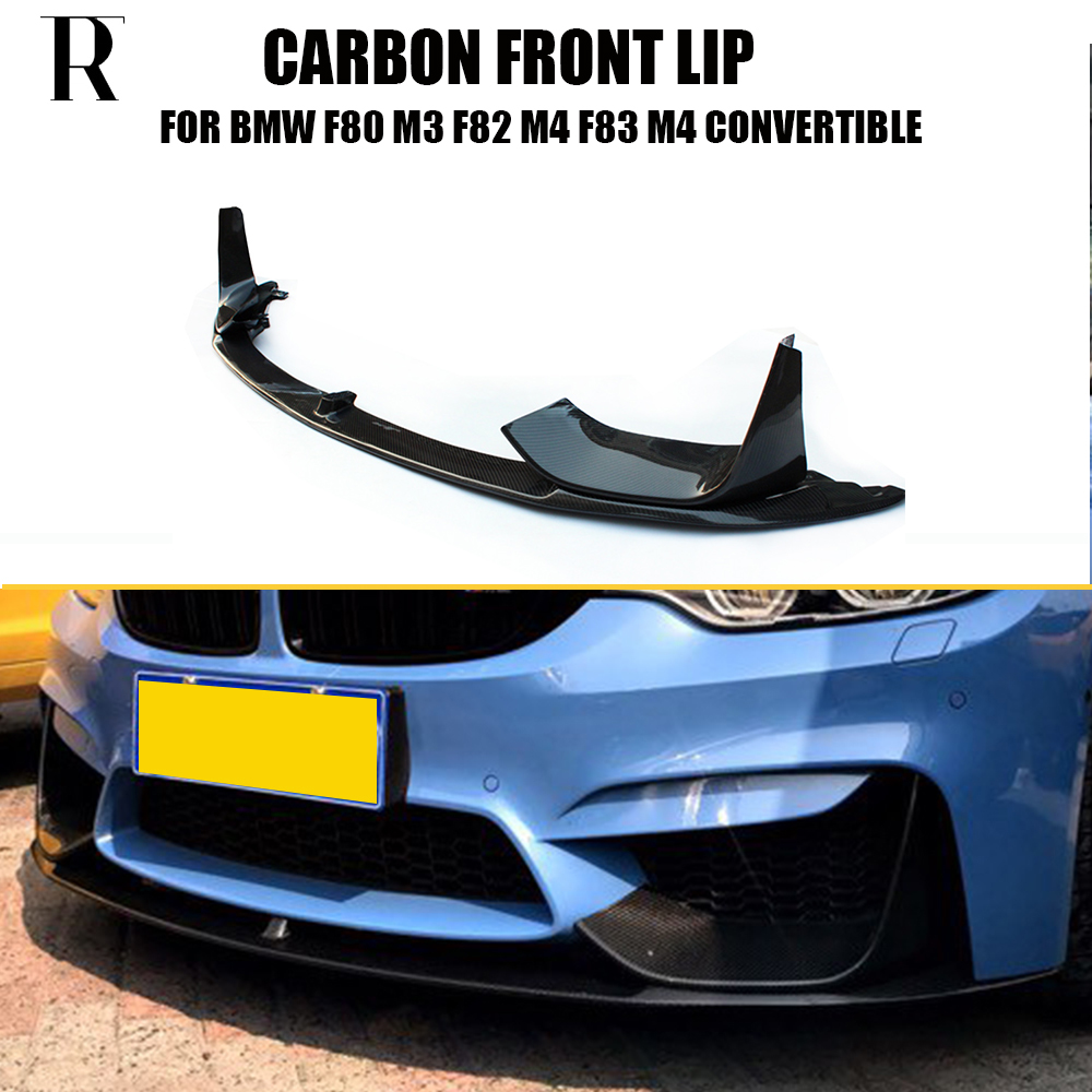 M3 M4 Carbon Fiber Front Bumper Lip Chin Spoiler With Removable Side Splitter for BMW F80 M3 F82 F83 M4 Coupe & Convertible carbon fibre front bumper lip chin for audi tt 8j mk2 convertible coupe 2 door 2008 2009 car styling