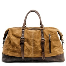 Will Capacity Man Portable Travelling Bag European Waterproof Wax Oil Canvas Messenger Luggage Package Crazy Horse Cowhide