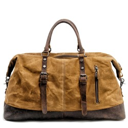 Will capacidad hombre bolsa de viaje portátil europeo cera impermeable aceite lona mensajero Paquete de equipaje Caballo loco de piel de vaca