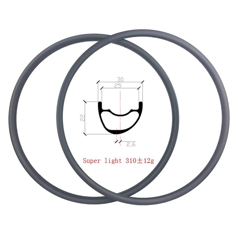 Ultralight 310g 29er MTB XC 30mm x 22mm clincher tubeless carbon rims asymmetric offset 2 6mm
