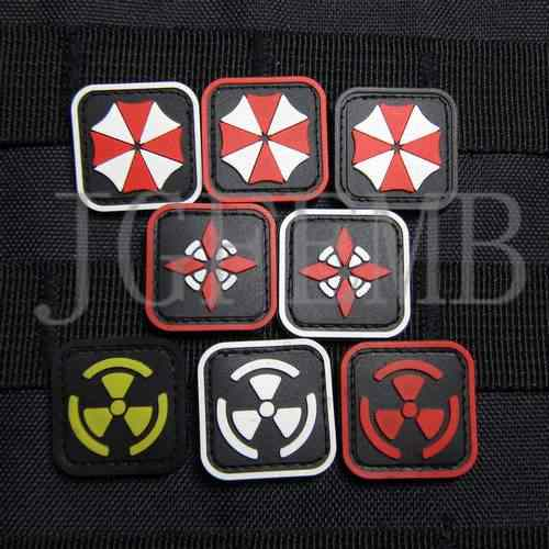 2 Buah Biohazard Penduduk Umbrella Corporation Biokimia Bahaya Logo 3D Pvc Patch