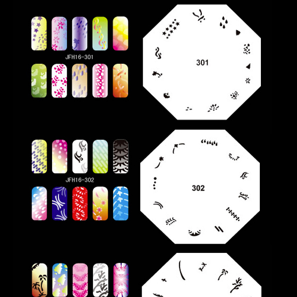 Airbrush Nail Art STENCILS, 260 DESIGNS, 20 Template for Air Brush, Set No.16  цены