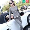 Outono novo xadrez moda casual das mulheres de algodão e linho two-piece suit + calça set (3-cor opcional)