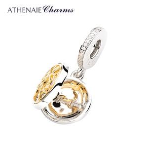 Image 2 - Athenaie 925 Sterling Zilver En Pave14K Gold Clear Cz Openen Boom Van Liefde Hanger Charms Fit Vrouwen Armband Mode sieraden
