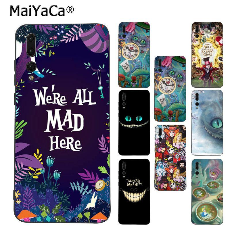 MaiYaCa Alice in Wonderland cat DIY Painted Coque Phone Case for Huawei P9 P10 Plus Mate9 10 Mate10 Lite P20 Pro Honor10 View10