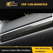 Бесплатная доставка углеродное волокно салона панель молдинги и планки Крышка для Porsche Cayenne 2015 2016 LHD 9 шт/комплект