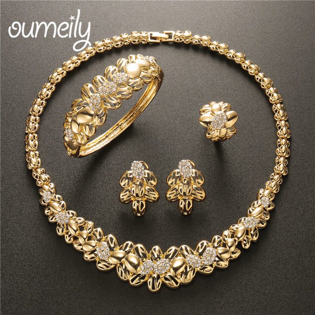 OUMEILY Women Flower Jewelry Set Necklace and Earrings 4PC Elegant