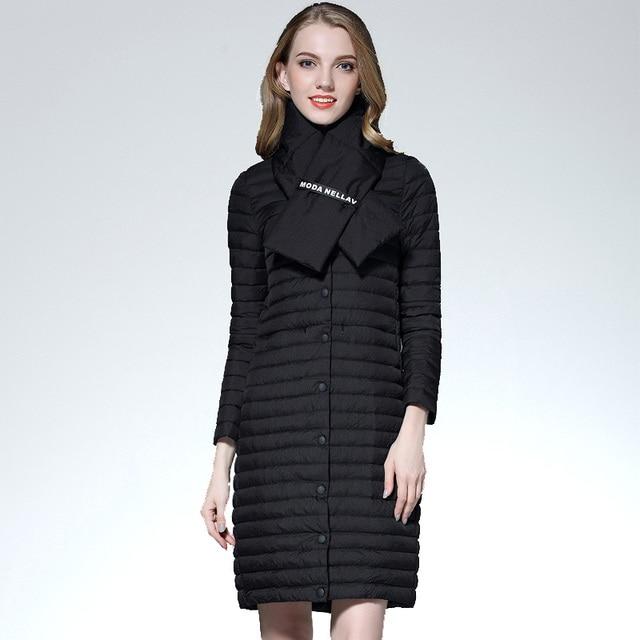 Otoño abrigo mujer blanco pato abajo chaqueta larga mujer ultra ligero  acolchado chaquetas invierno largo abrigo efe0d0dc108c