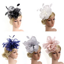 цена на Vintage Wedding Fascinator Hat Women Hairbands Feather Flower Hair Band Church Tea Party Headdress