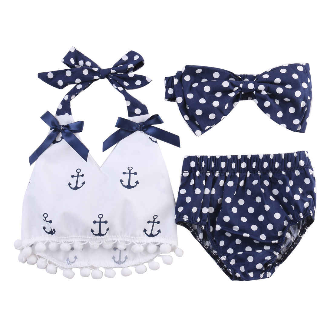 848b2d697bd8 Tops + Polka Dot Briefs + Head band 3pcs Sleeveless Cute Baby Girls Clothes  Sets Anchors