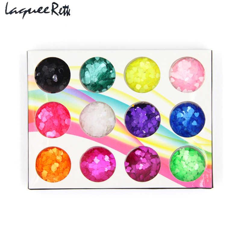 12 צבע צורת לב נצנצים הולוגרפית לייזר אבקת קשת Chrome מסמר מניקור נייל ארט גליטר אבקת נצנצים פיגמנט