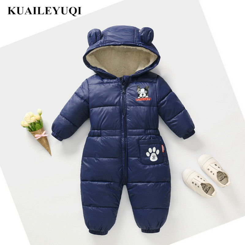2019 New Winter Spring Rompers Baby Clothes Children Boy Girls Jumpsuit Kids Down Cotton Overalls Snowsuit Hooded Parka Clothing(China)