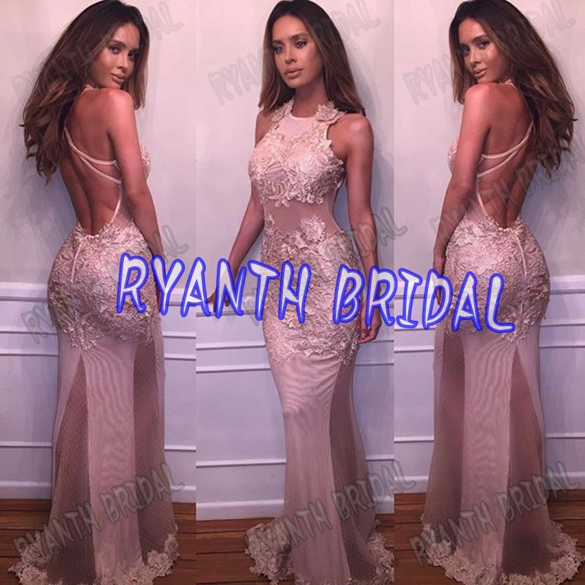 Ryanth Sexy Pink Long Lace Mermaid Prom Dresses 2019 Vestidos de fiesta Custom Made Color & Size For Free Evening Party Gown