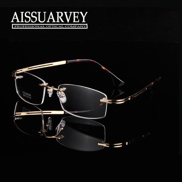 Pure titanium eyeglasses frame optical glasses rimless light handsome prescription brand disigner high quality new thin leg