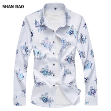 2018 spring Floral Print Shirt for men new fashion long sleeve flower mens shirts male slim flower Casual Men Shirt camisa