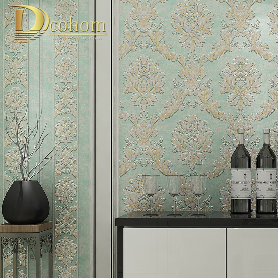 Vintage European Style Damask 3D Wallpaper Striped Beige Brown Light Blue Wall Paper Rolls For Living Room Bedroom Walls Decor