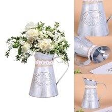 Vintage Metal alto Shabby Chic Cream jarrón esmalte jarra boda decoración del hogar