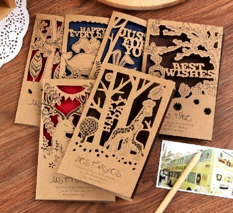 Online shop hot selling business cards diy fashion retro animal hot selling business cards diy fashion retro animal hollow style kraft paper card setmantic styleletter envelope ll 926 reheart Image collections