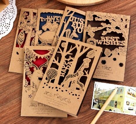 Vente Chaude Cartes De Visite DIY Mode Rtro Animaux Creux Style Kraft Carte Papier Ensemble Romantique Lettre Enveloppe LL 926 Dans