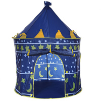 Portable Foldable Play Tent Blue Pink Prince Folding Tent Kids Children Boy Castle Cubby Play House