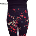 New 2017 Print Flower Leggings Leggins Plus Size Legins Guitar Plaid Thin Nine Pant Fashion Women Clothing aptitud Trousers K092