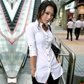 New 2016 Office Lady Long Sleeve Blouse Women V Neck Slim Fit Long Shirt White