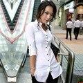 Novo 2016 Senhora Do Escritório de Manga Comprida Blusa Mulheres V Pescoço Slim Fit Camisa Longa Branca