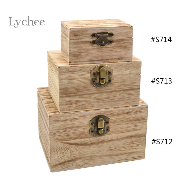 Lychee 1pc British Style Storage Box Wood Creative Square Vintage