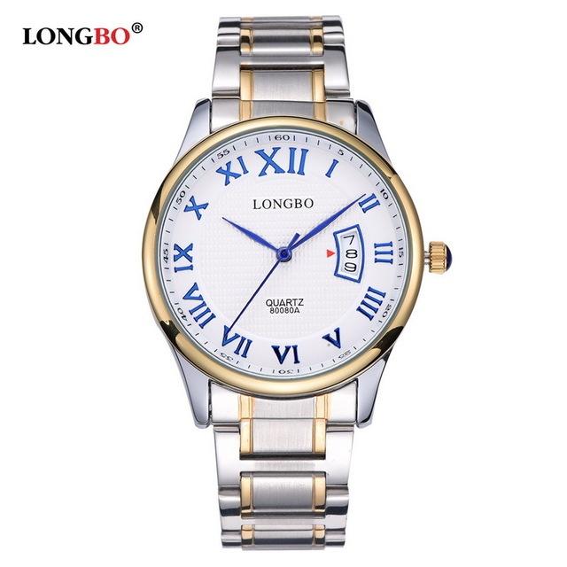 Amantes LONGBO Luxo Casal Relógios Homens Data Dia de Ouro À Prova D' Água de Aço Inoxidável Quartzo Relógio de Pulso Montre Homme 80080A