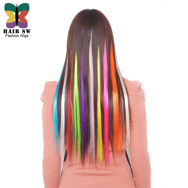 Hair Sw Highlighted Color Synthetic Hair Extension Clip In One Piece