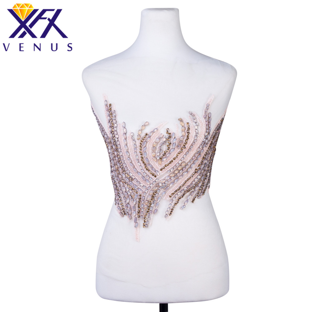 XFX VENUS Handmade Elegant Rhinestone Beads Bodice Applique Beaded Crystal Dress Patches Wedding Dress Trim