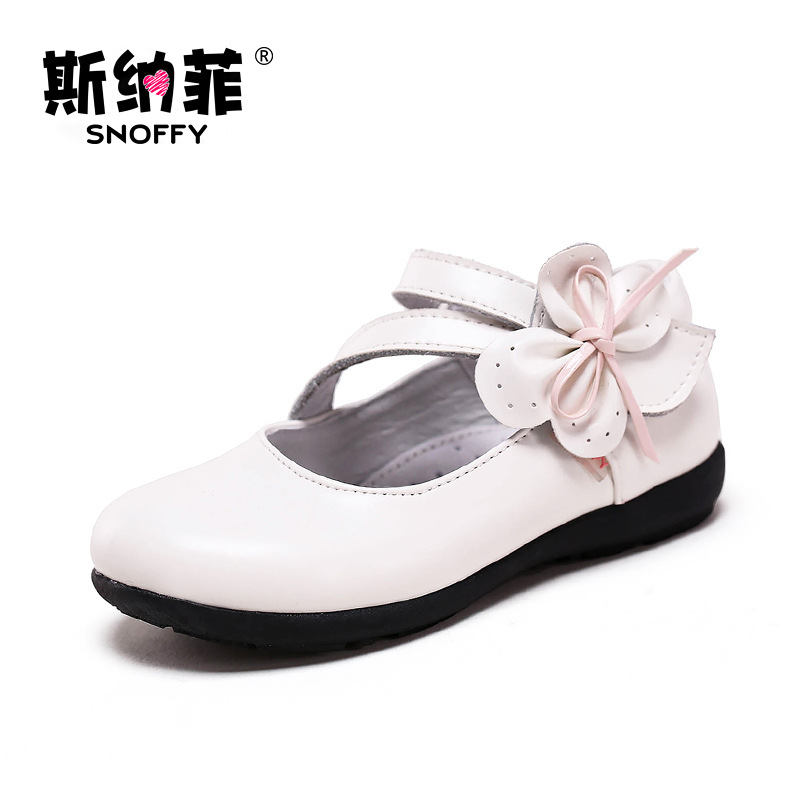 Snoffy Spring Autumn Kids Leather Princess Shoes Bow Party Wedding Girls Dress Shoes Black Children School Flat Shoes TX261