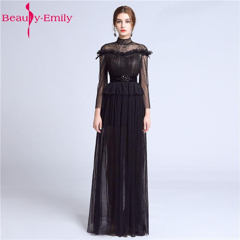Sexy Long Lace Black Evening Dresses  Floor-Length Sweep Zipper Formal Party Prom Dresses vestido de noite