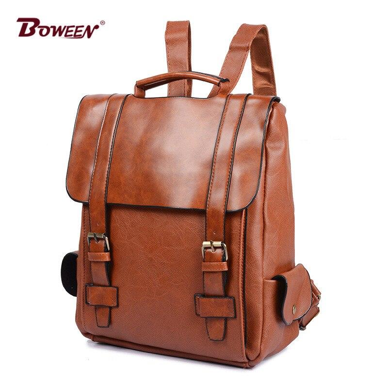 Vintage Pu Leather Backpack Men Bag Waterproof School Bags Solid Retro Male Back Pack Teens Casual Bagpack Mochila Black Brown