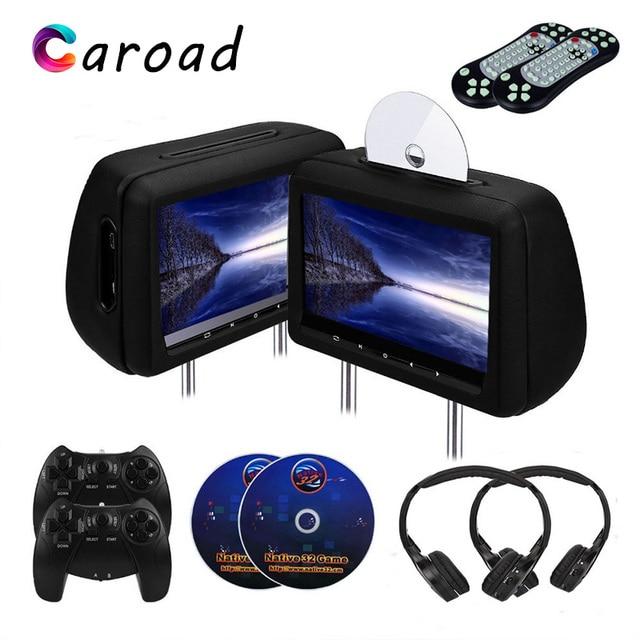 Caroad 2PCS 10.1 inch Car Headrest Monitor DVD Video Player With FM/IR Transmitter/USB/SD/HDMI Port/Speaker/Game/Gamepad/control