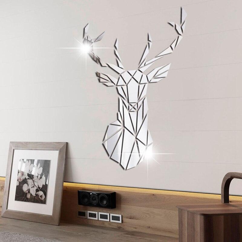 3D Mirror Wall Stickers Acrylic Sticker Deer Head Wall Art Room Home Decor fa