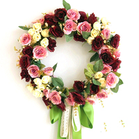 35CM European Simulation Flower Artificial Silk Flower Art Door Decoration Wreath Flowers Wedding Car Rose Garland S